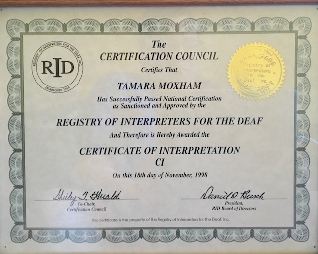 Certificate of Interpretation